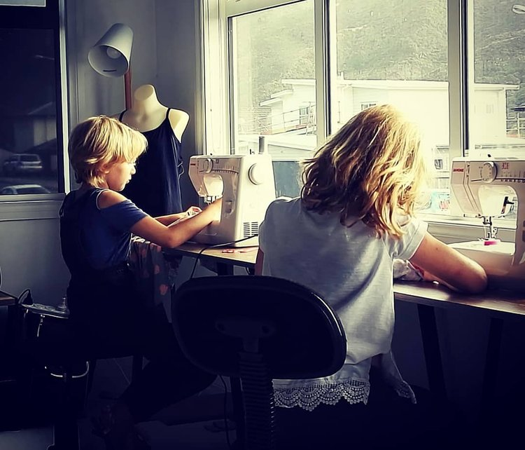 children sewing